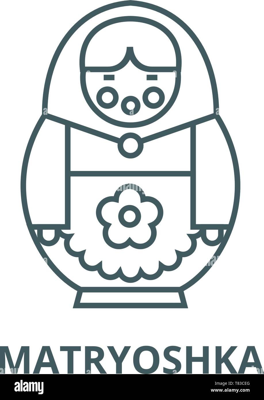 Matryoshka vector line icon, linear concept, outline sign, symbol - Stock Image