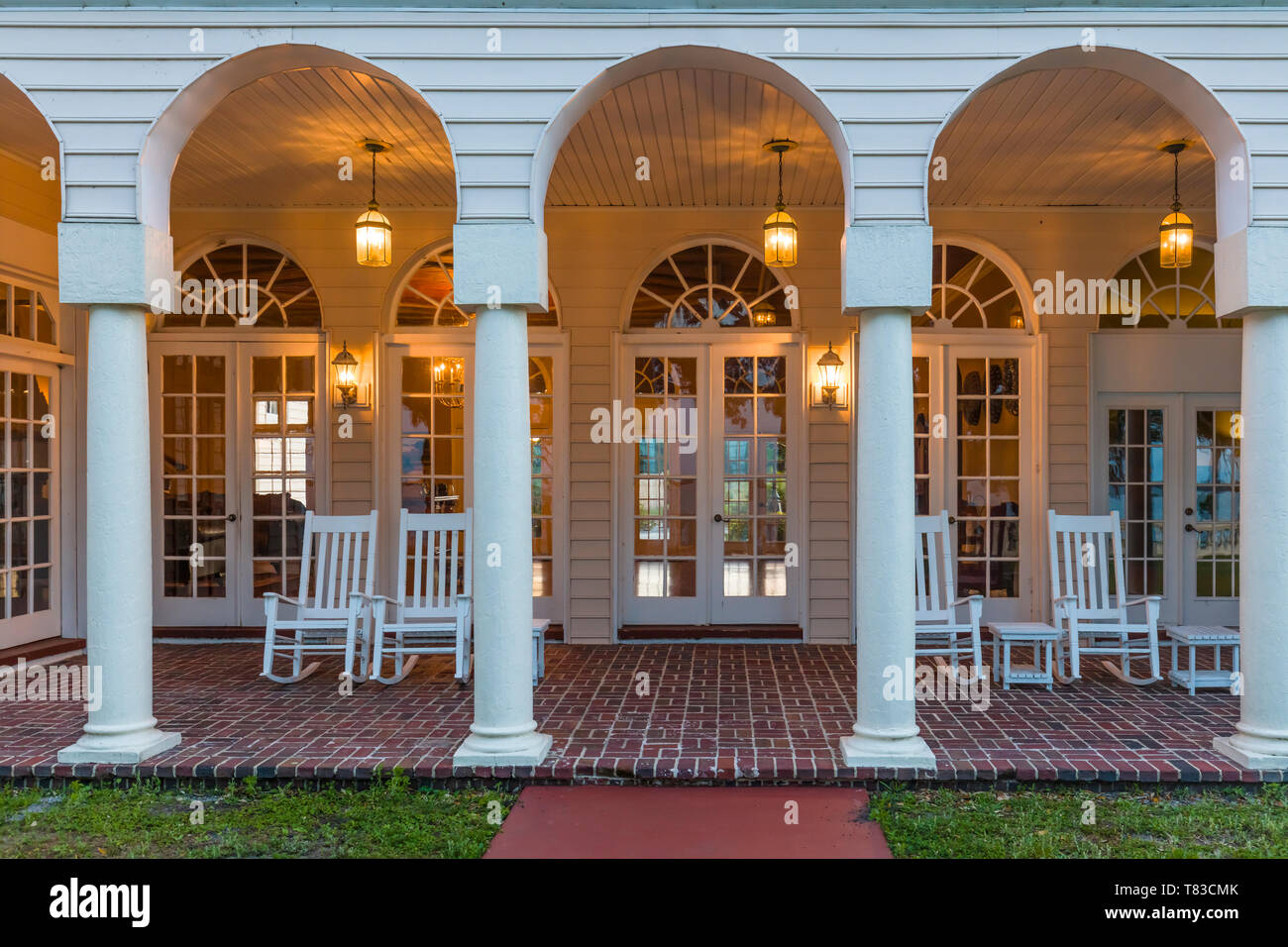 Porch at Capernaum Lakeside Lodge also Capernaum Inn Retreat Center built in 1925 in Lake Wales Polk County Floridda in the United States Stock Photo