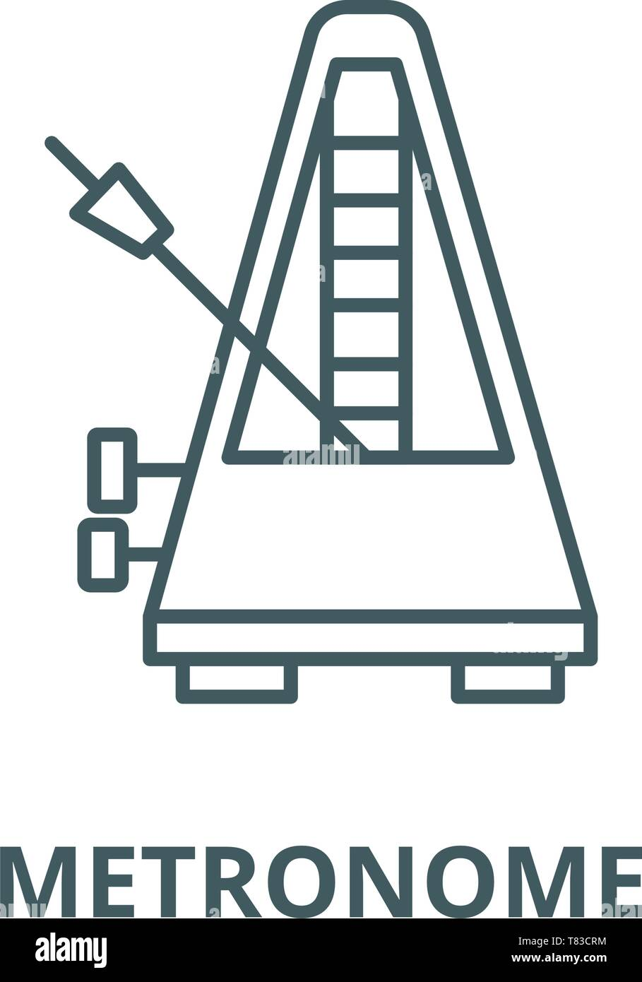Metronome vector line icon, linear concept, outline sign, symbol - Stock Image
