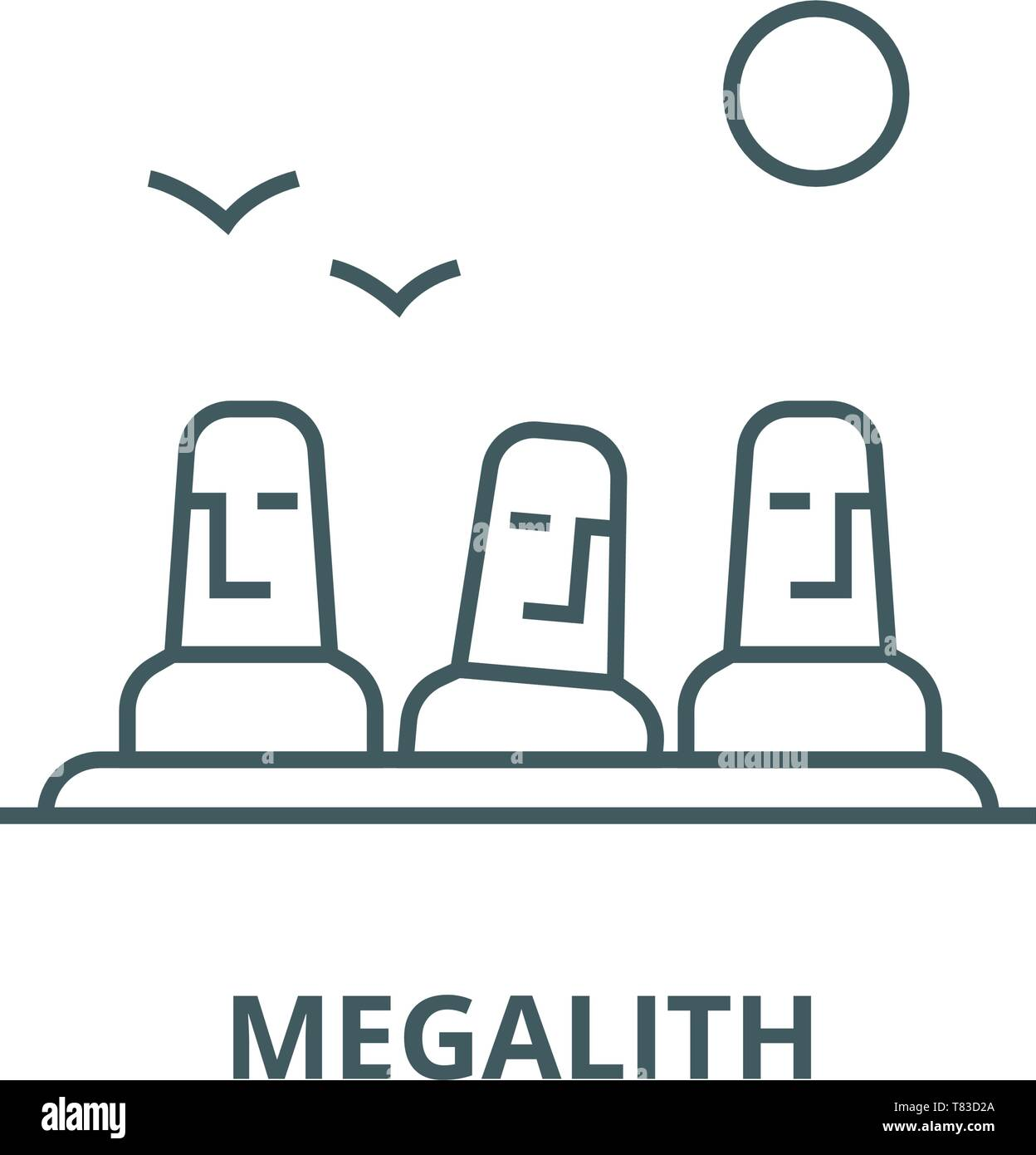 Monolith,megalith,easter land vector line icon, linear concept, outline sign, symbol - Stock Vector