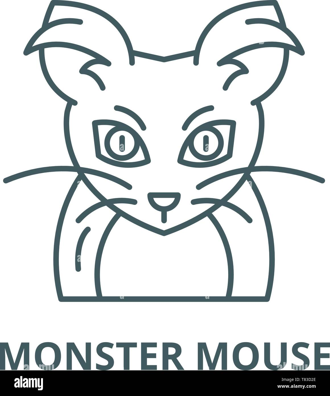 Monster mouse vector line icon, linear concept, outline sign, symbol - Stock Vector