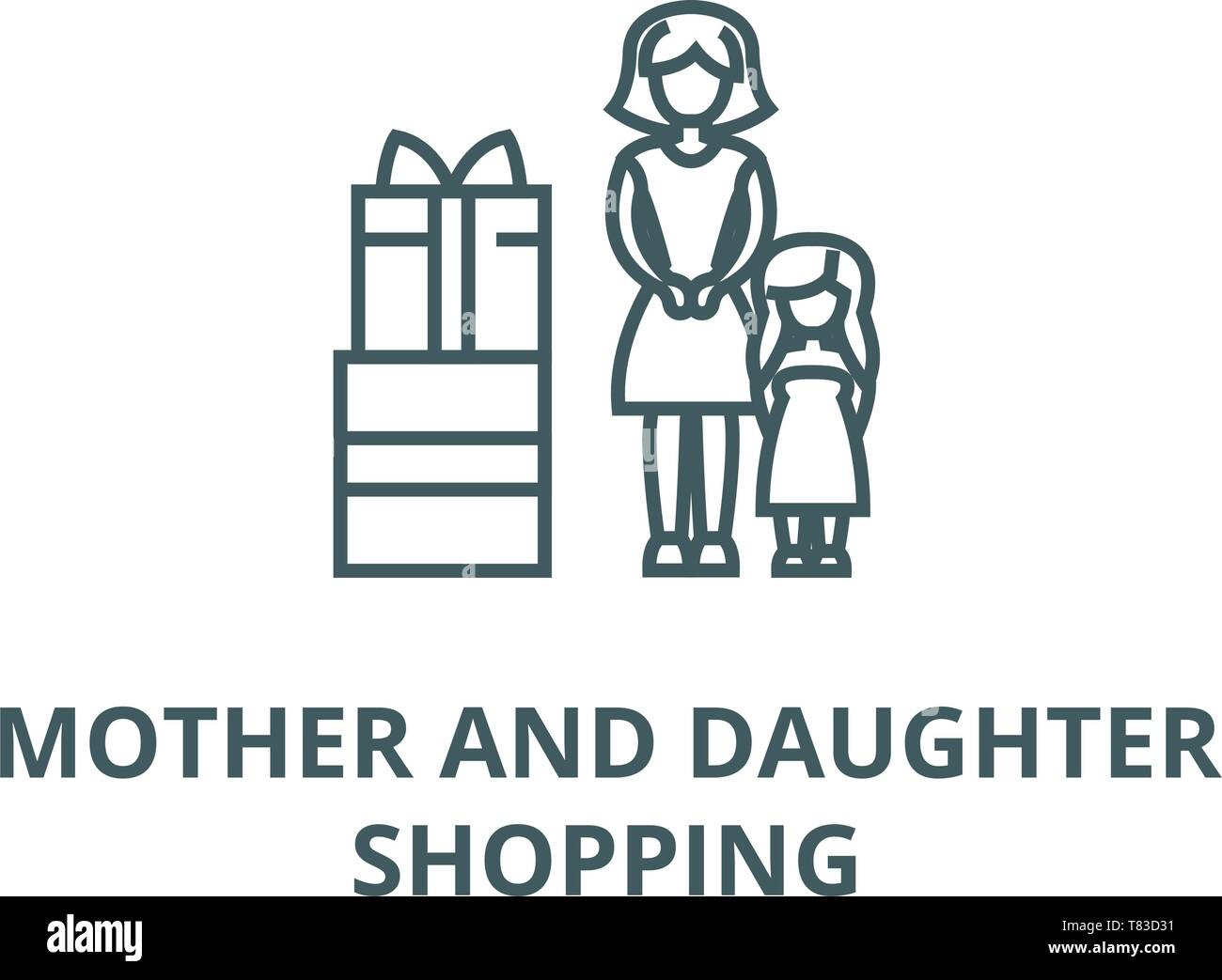 Mother gift to daughter vector line icon, linear concept, outline sign, symbol - Stock Image