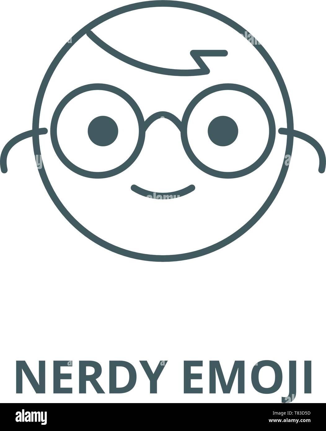 Nerdy emoji vector line icon, linear concept, outline sign, symbol - Stock Image