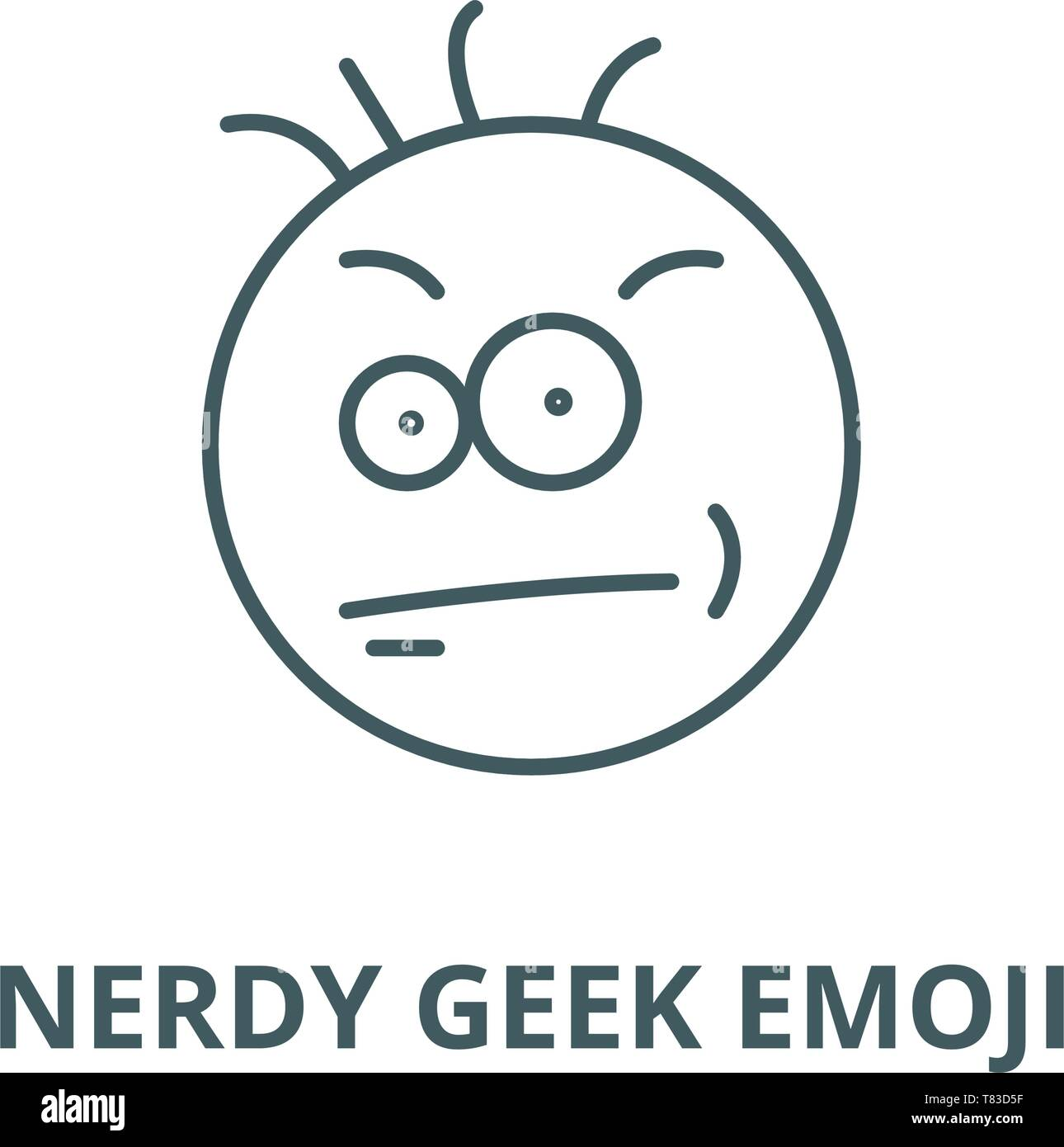 Nerdy geek emoji vector line icon, linear concept, outline sign, symbol - Stock Image