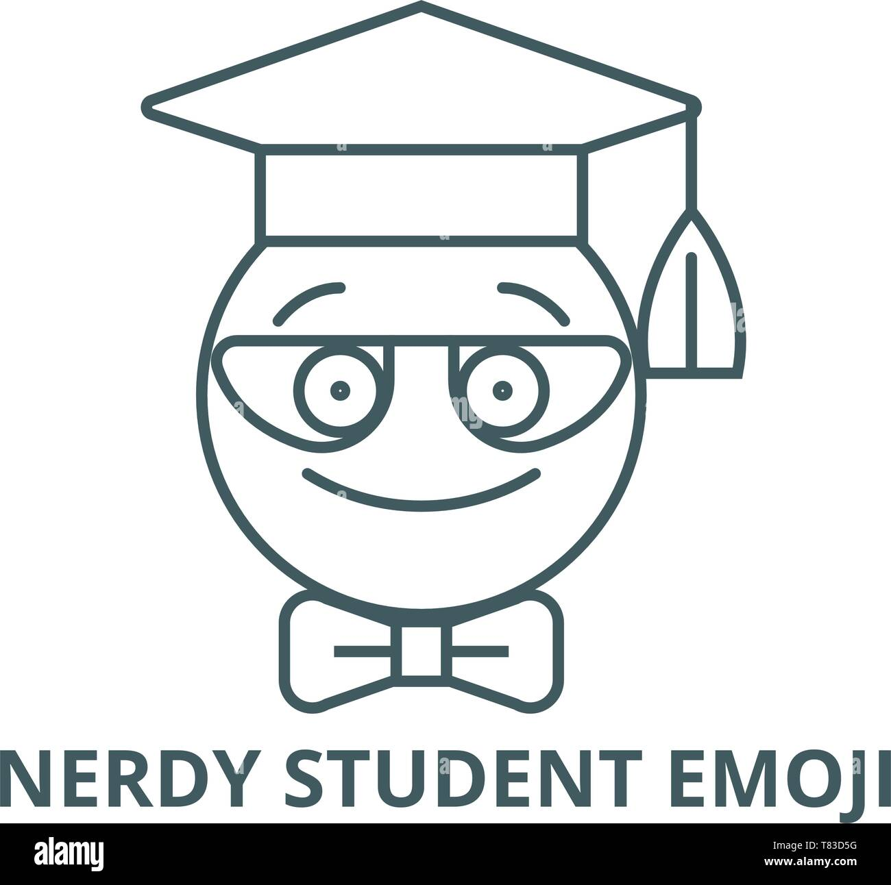 Nerdy student emoji vector line icon, linear concept, outline sign, symbol - Stock Image