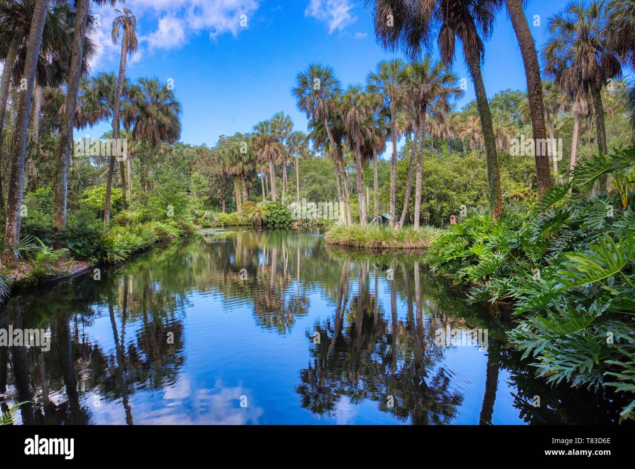 Reflectin pool in Bok Tower Gardens also known as Bok Mountain Lake Sanctuary  Lakes Wales Polk County Florida in the United States - Stock Image