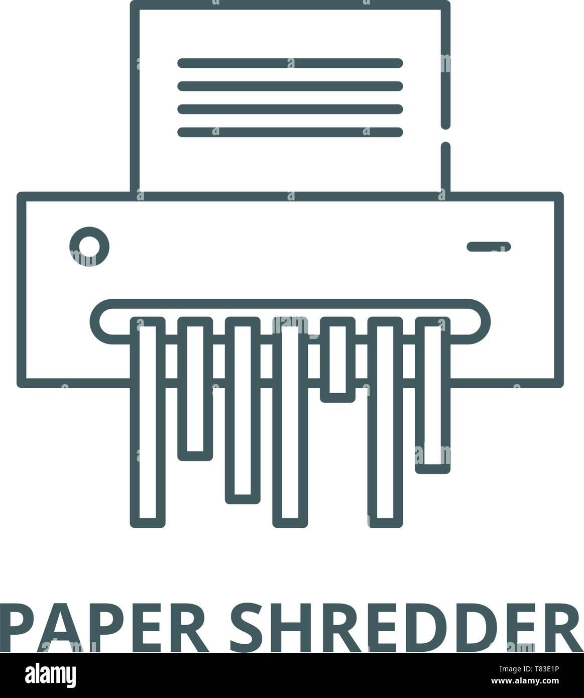 Paper shredder vector line icon, linear concept, outline sign, symbol - Stock Vector