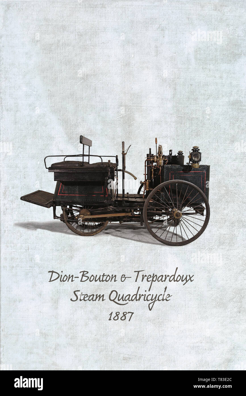Dion-Bouton et Trépardoux steam quadricycle from 1887. One of the oldest surviving motorcars the world Stock Photo