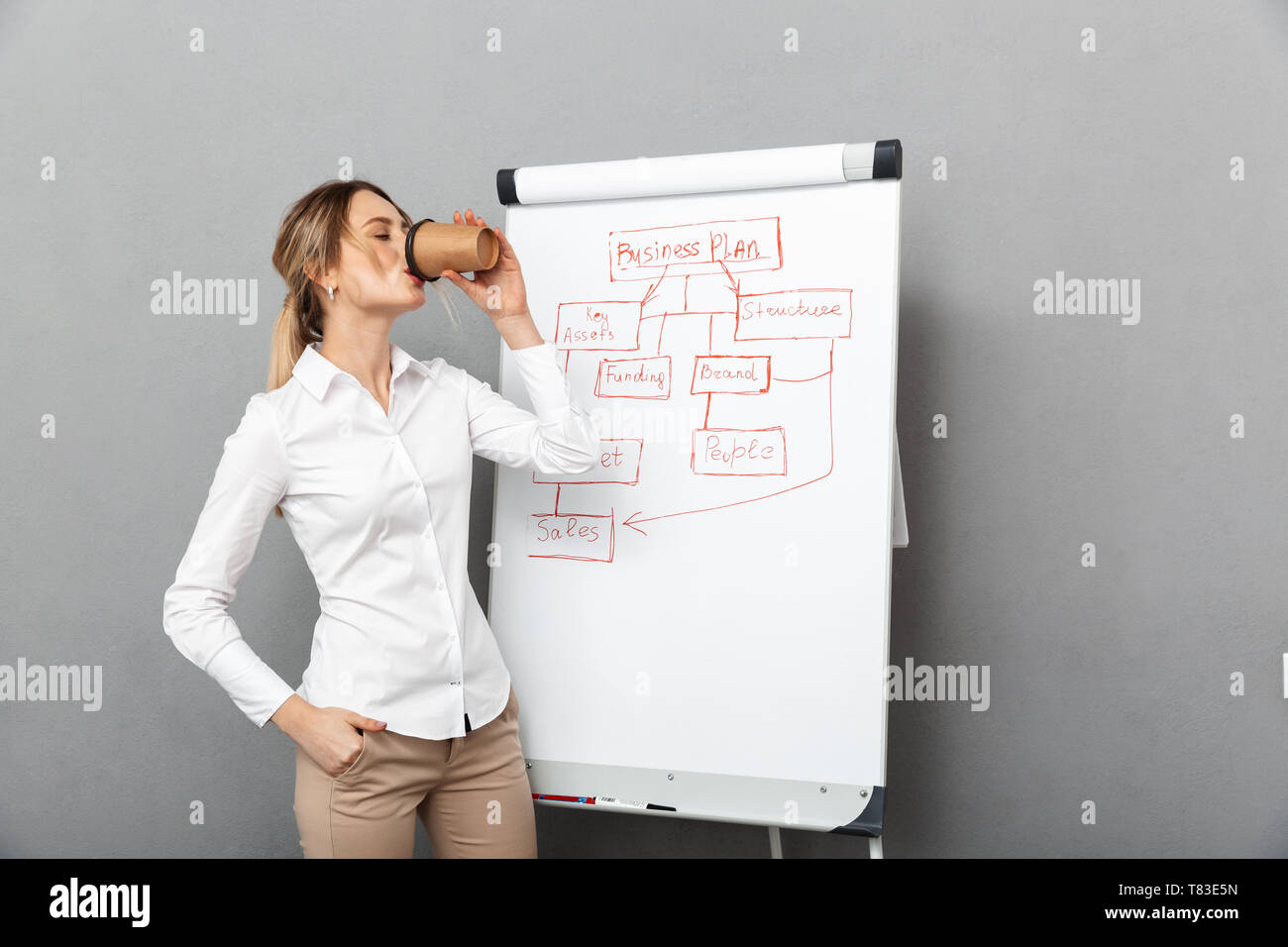 Image of european businesswoman in formal wear drinking coffee while making presentation using flipchart in the office isolated over gray background - Stock Image