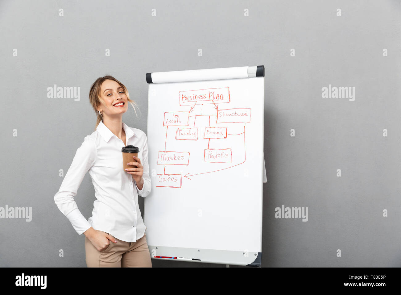 Image of successful businesswoman in formal wear drinking coffee while making presentation using flipchart in the office isolated over gray background - Stock Image