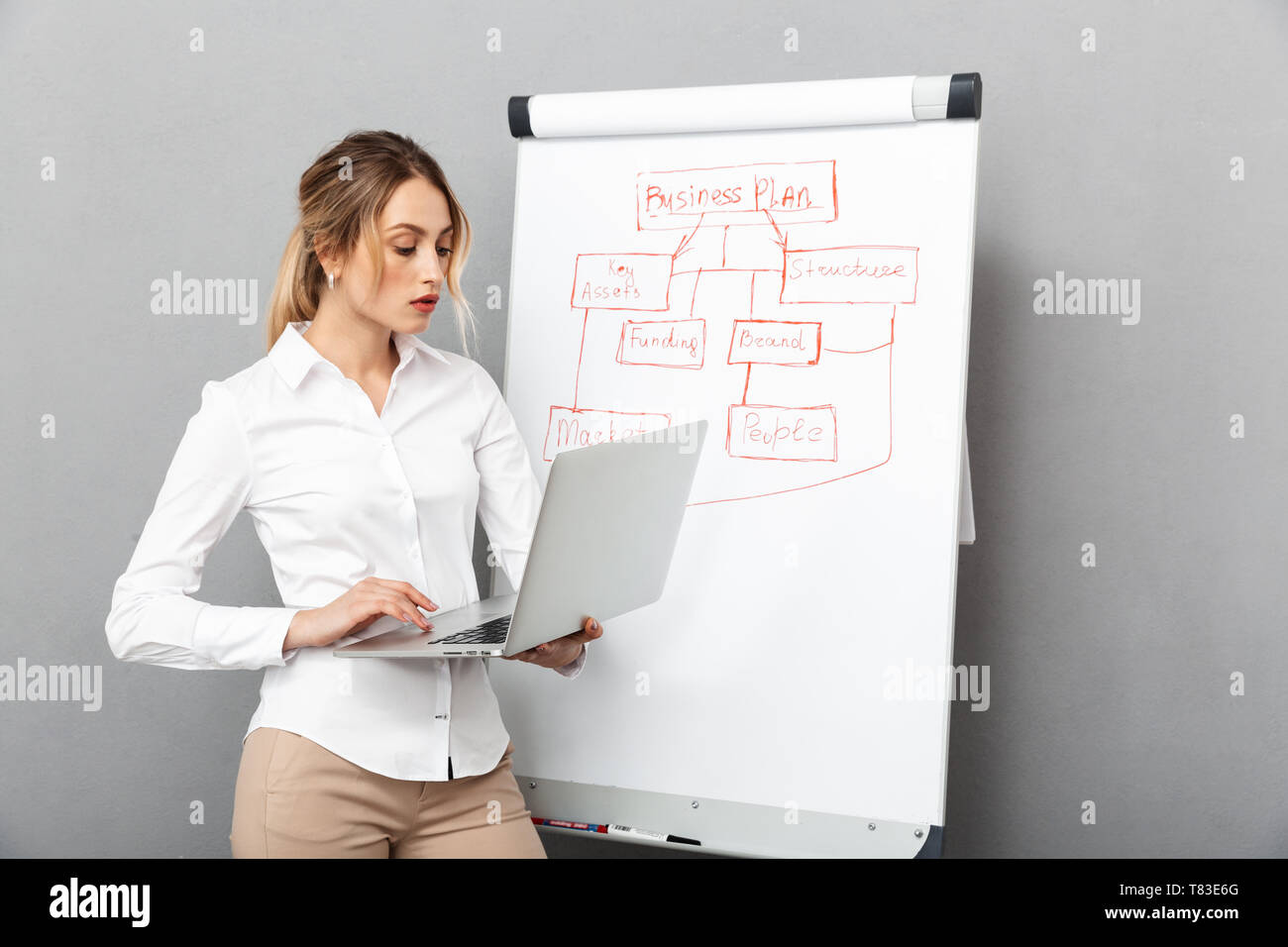Image of successful businesswoman in formal wear using flipchart and laptop while making presentation in the office isolated over gray background - Stock Image