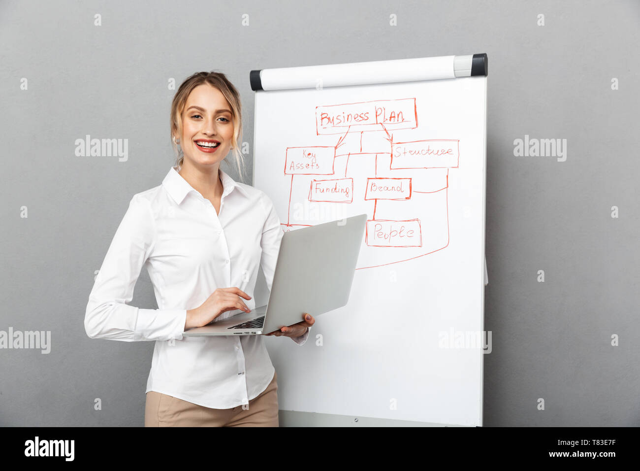 Image of businesslike woman in formal wear using flipchart and laptop while making presentation in the office isolated over gray background - Stock Image