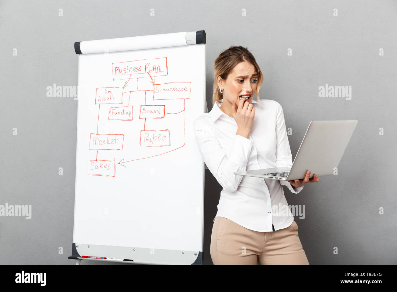 Image of caucasian businesswoman in formal wear using flipchart and laptop while making presentation in the office isolated over gray background - Stock Image