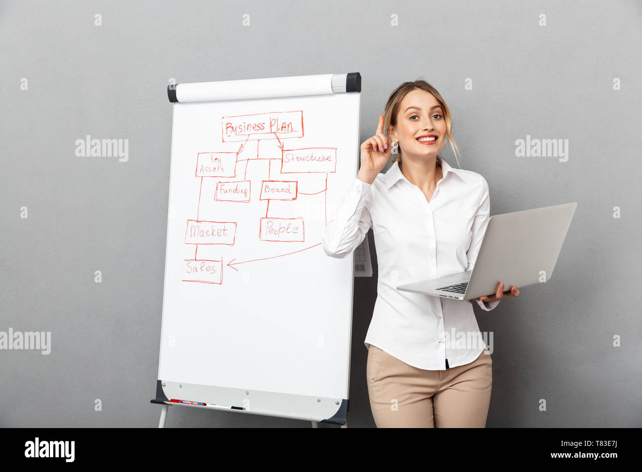 Image of attractive businesswoman in formal wear using flipchart and laptop while making presentation in the office isolated over gray background - Stock Image