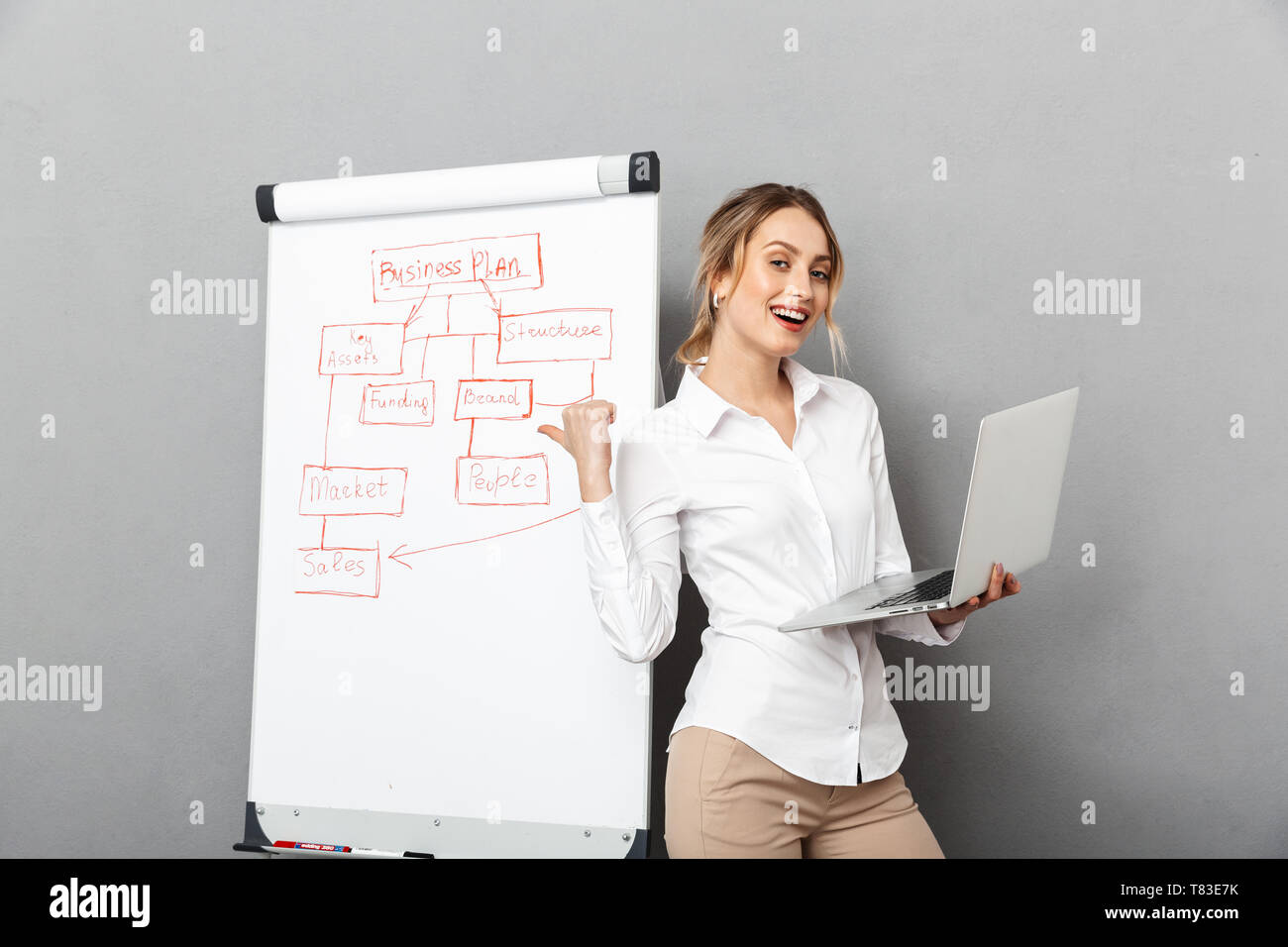 Image of happy businesswoman in formal wear using flipchart and laptop while making presentation in the office isolated over gray background - Stock Image