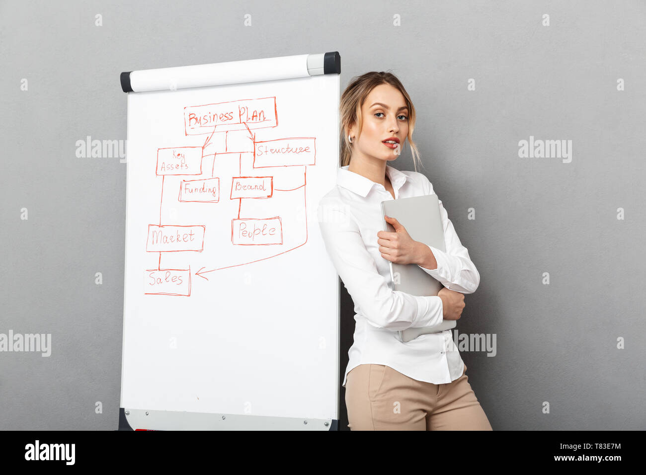 Image of european businesswoman in formal wear using flipchart and laptop while making presentation in the office isolated over gray background - Stock Image