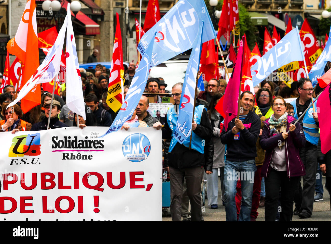 Public officials march to defend civil Services, Lyon, France - Stock Image