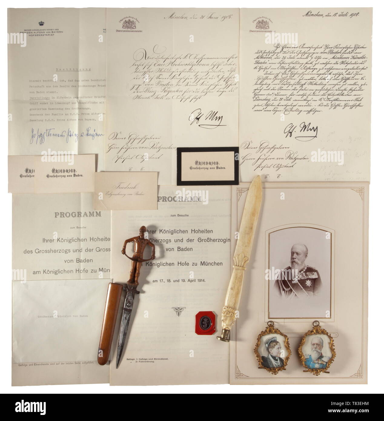 Grand Duke Friedrich I (1826 - 1907) - his personal seal, miniature portraits etc. The seal in the form of an ivory letter opener with lion´s head, the brass seal matrix incised with the crowned monogram 'F', length 25.5 cm. With written confirmation and inventory card of Prince Alfons of Bavaria, who received it as a gift from the grand duke. Also a large portrait photograph of the grand duke in uniform, four cartes de visite, comprehensive schedules for the visit of the grand duke and the grand duchess in Munich in 1908 and 1914, a pair of pape, Additional-Rights-Clearance-Info-Not-Available - Stock Image