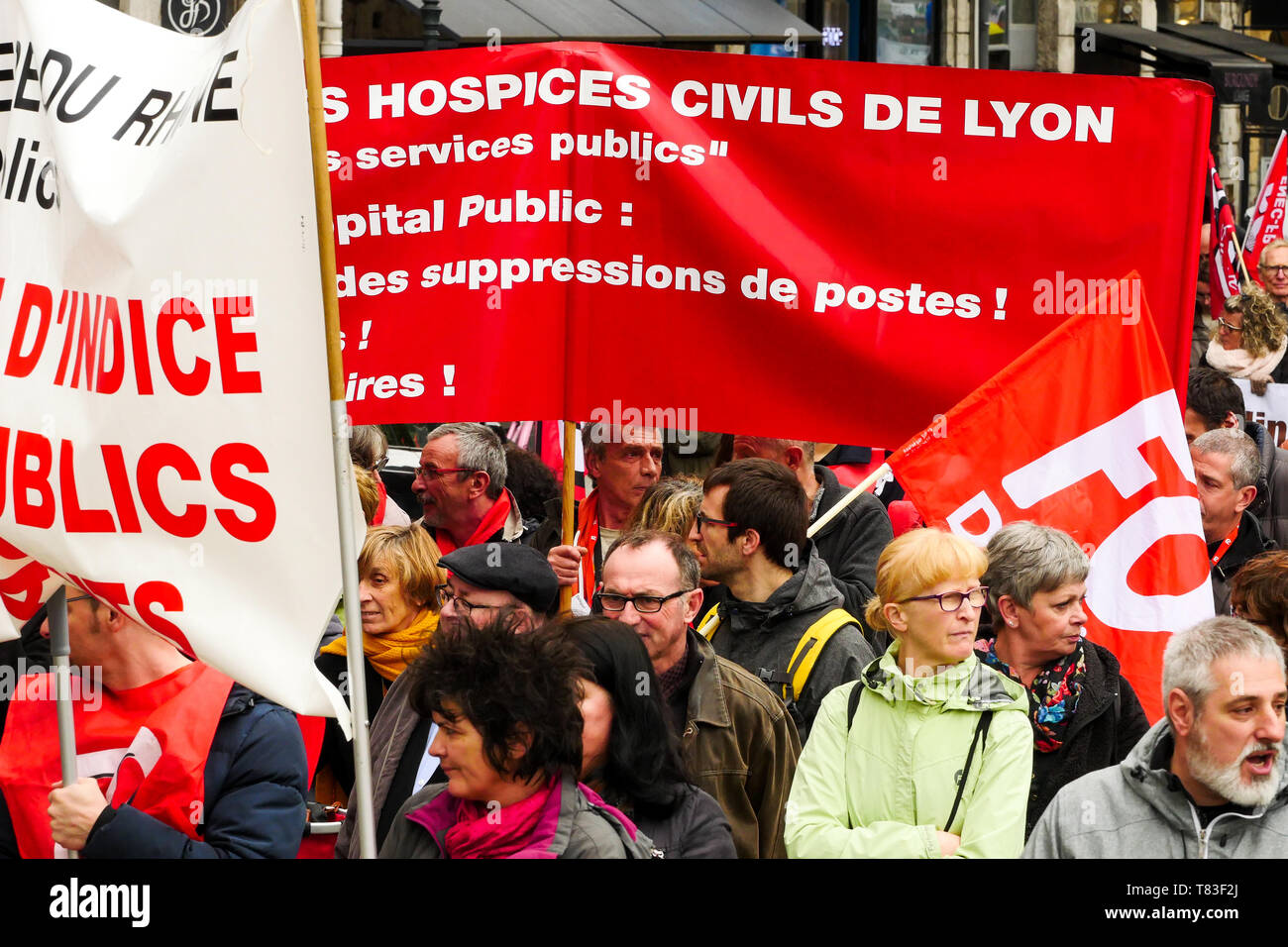 Public officials march to defend civil Services, Lyon, France Stock Photo