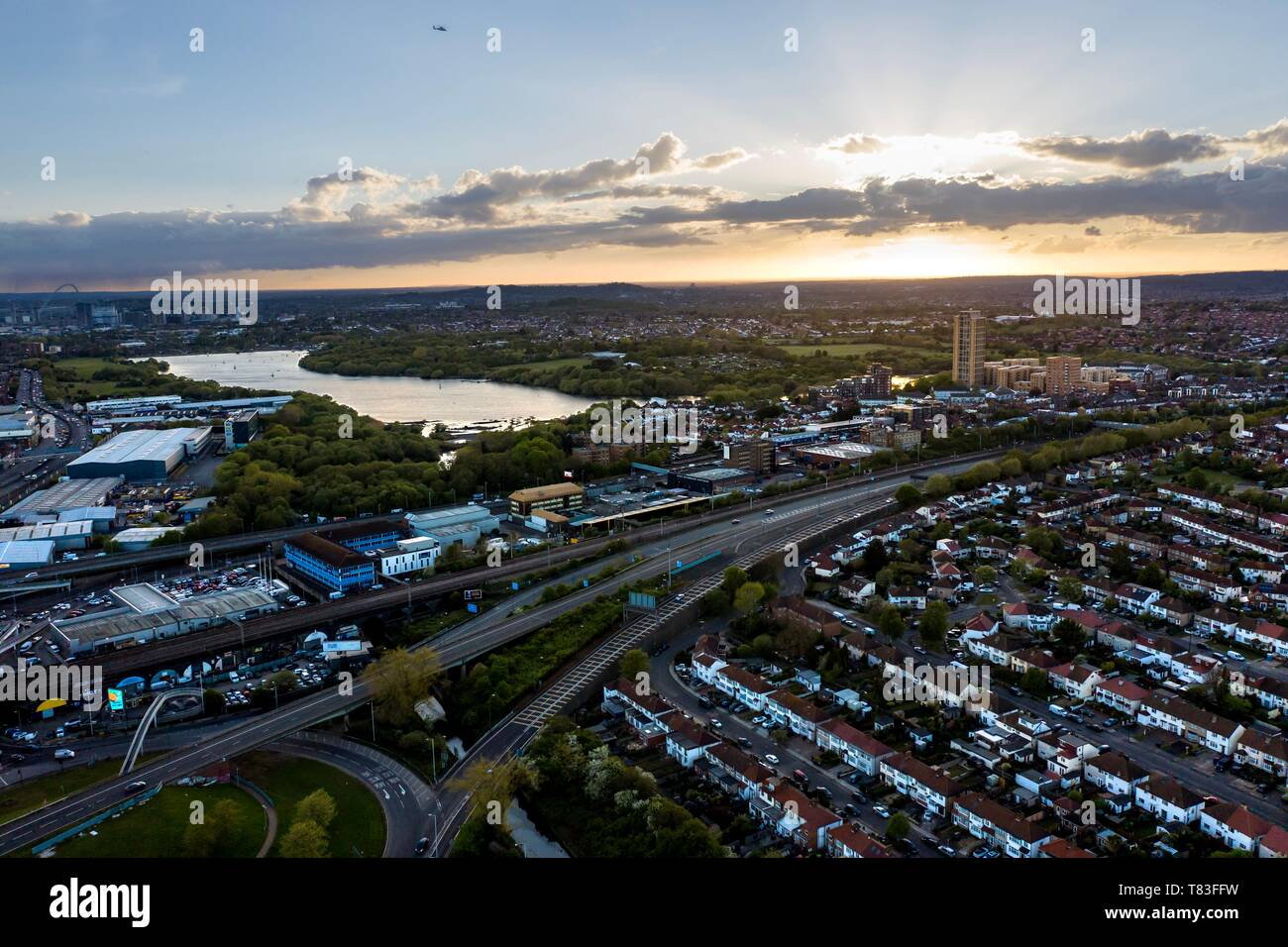 The A406 North Circular road near Brent Cross at sunset. LONDON, UK - Stock Image