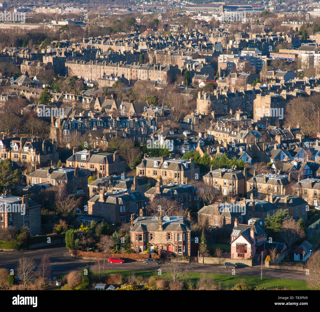 Edinburgh, City of Edinburgh, Scotland. View from Blackford Hill over the rooftops of the Morningside district. - Stock Image