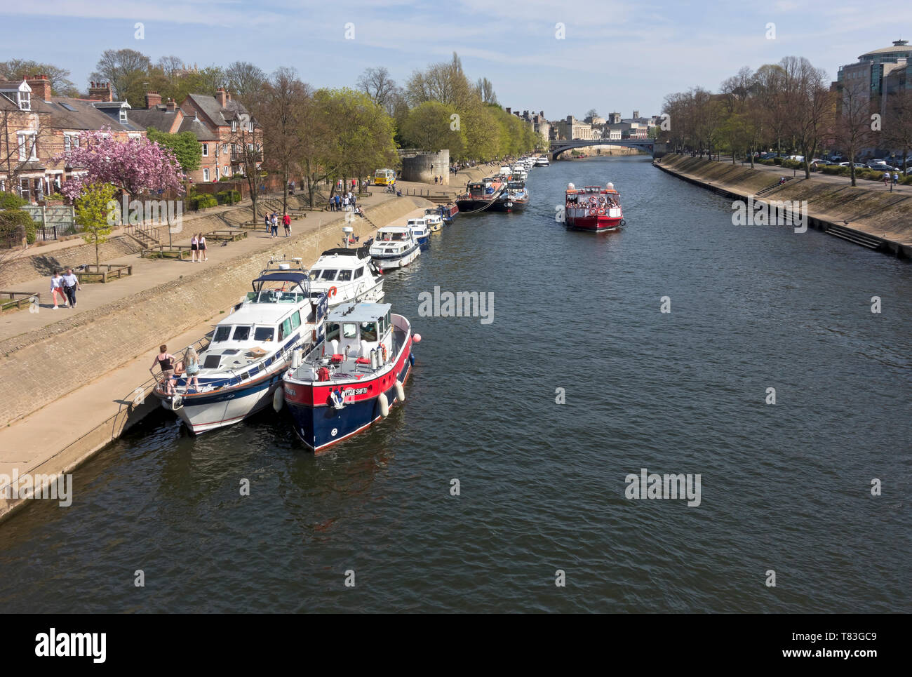 Pleasure boats moored along the River Ouse in spring York North Yorkshire England UK United Kingdom GB Great Britain Stock Photo