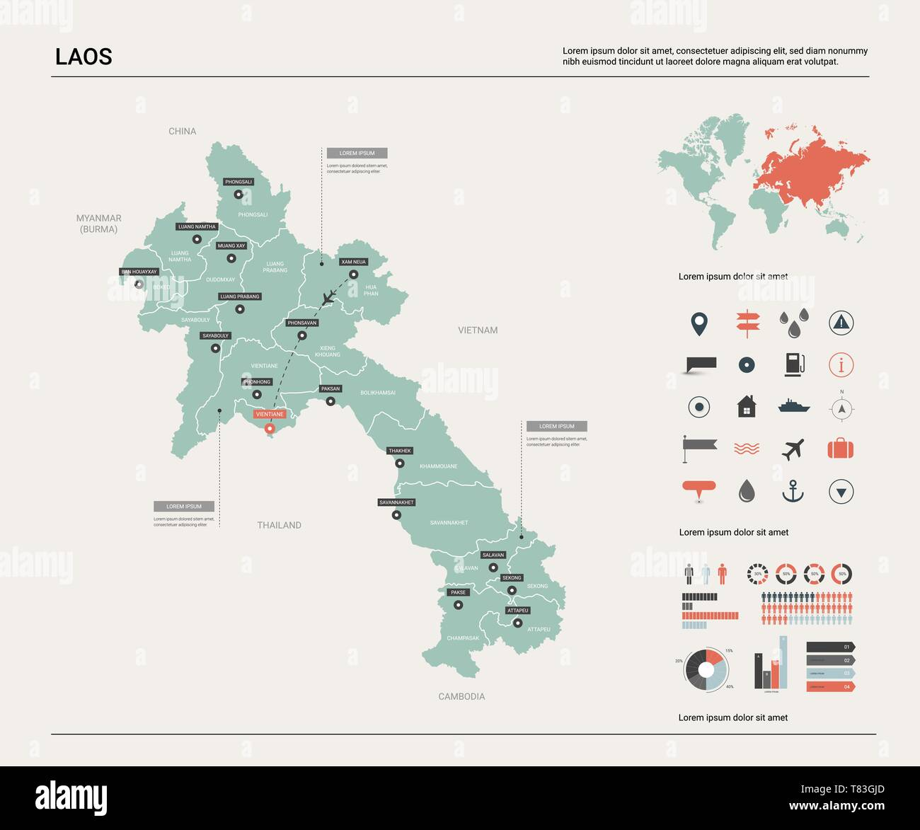 Vector Map Of Laos High Detailed Country Map With Division Cities And Capital Vientiane Political Map World Map Infographic Elements Stock Vector Image Art Alamy