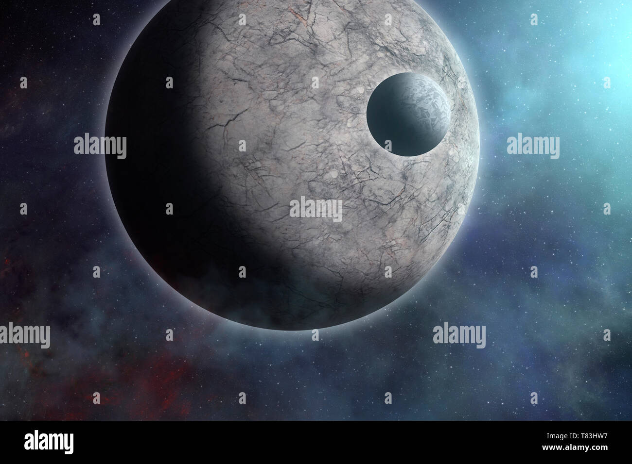 Space sci-fi fantasy background with planet, moon and stars. Rocky planet and satellite near sun. Surreal sci-fi space background - Stock Image