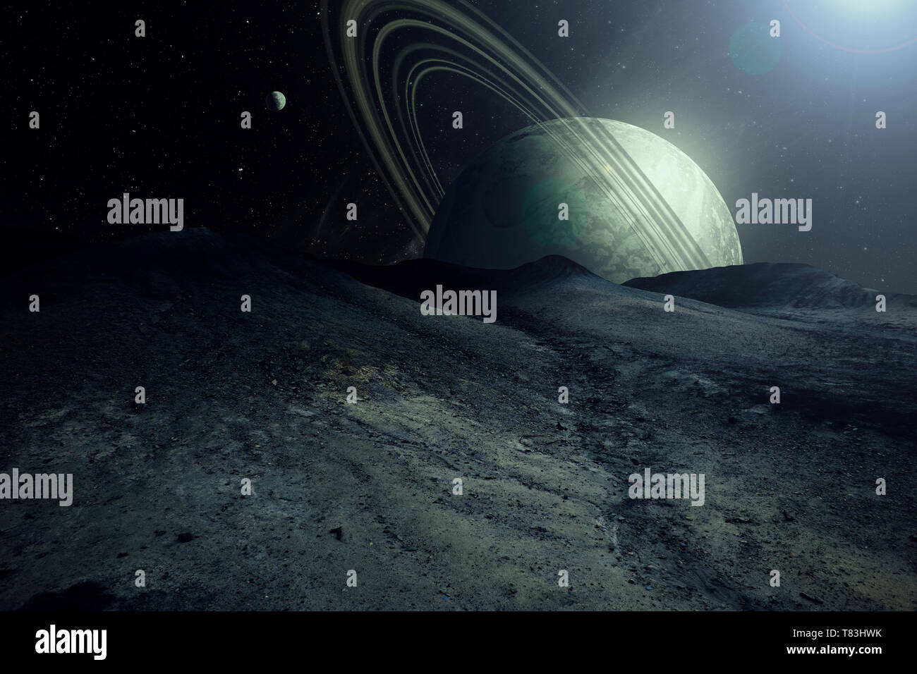 alien planet landscape with planets and moons in the sky, space exploration surreal illustration - Stock Image