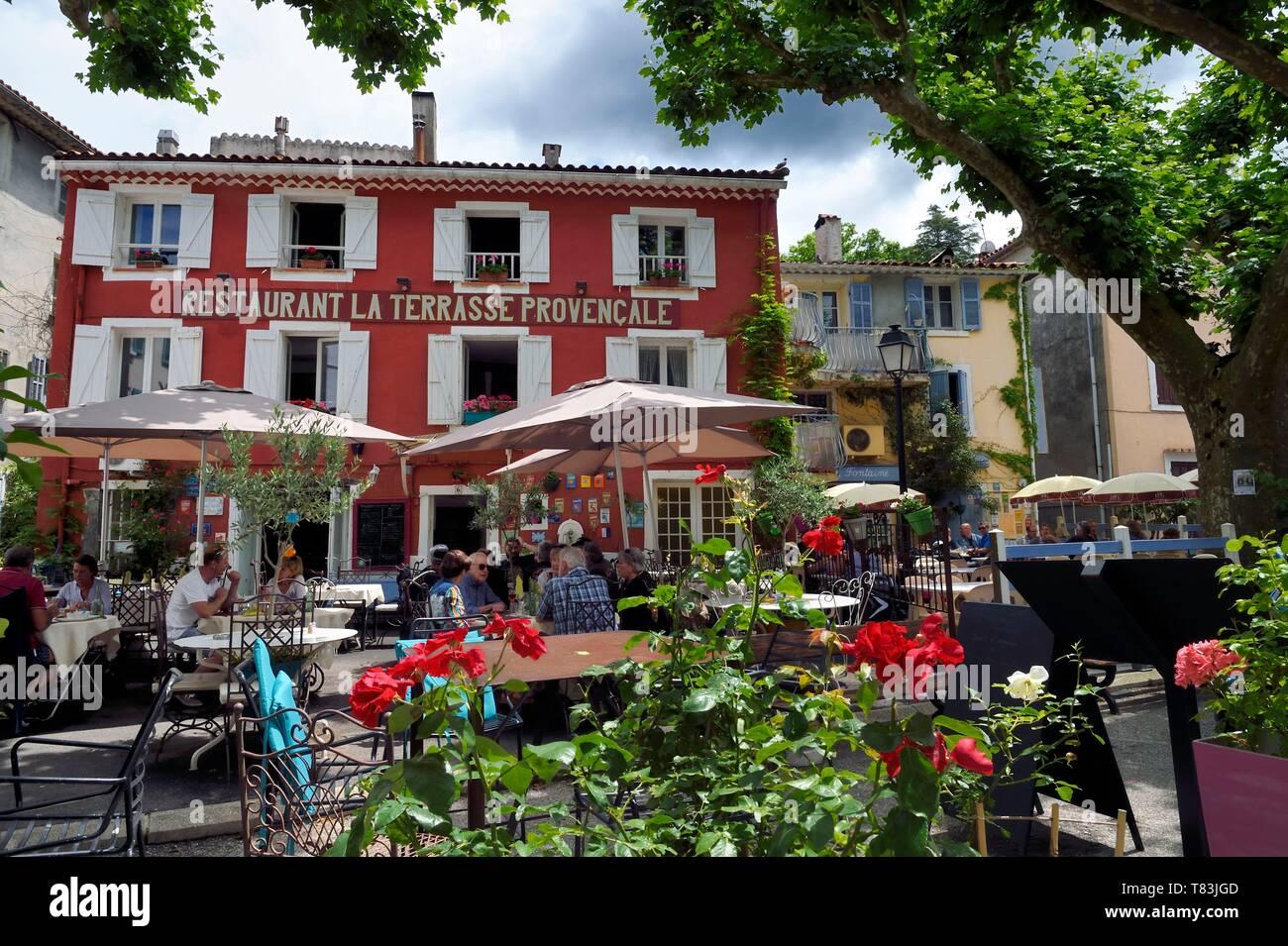 France, Var, Massif des Maures, Collobrieres, restaurant La ...