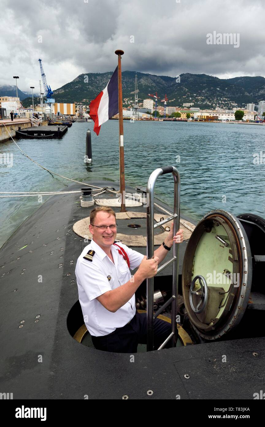 France, Var, Toulon, the naval base (Arsenal), Commander Nicolas Faure, Commander of the nuclear attack submarine (SNA) Casabianca (Rubis type) - Stock Image