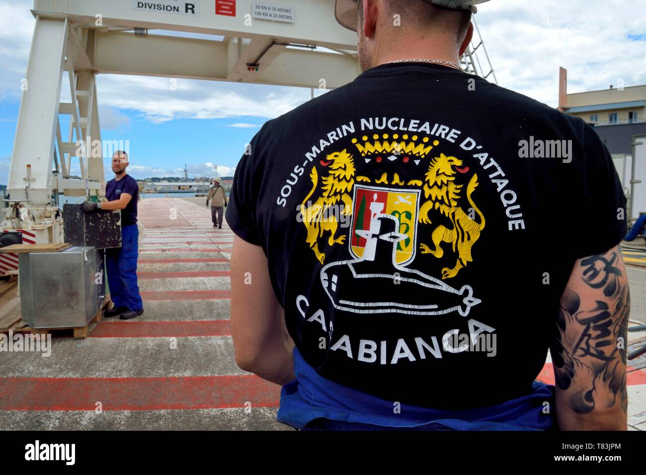 France, Var, Toulon, the naval base (Arsenal), at dock of a nuclear attack submarine (SNA) Rubis type Stock Photo