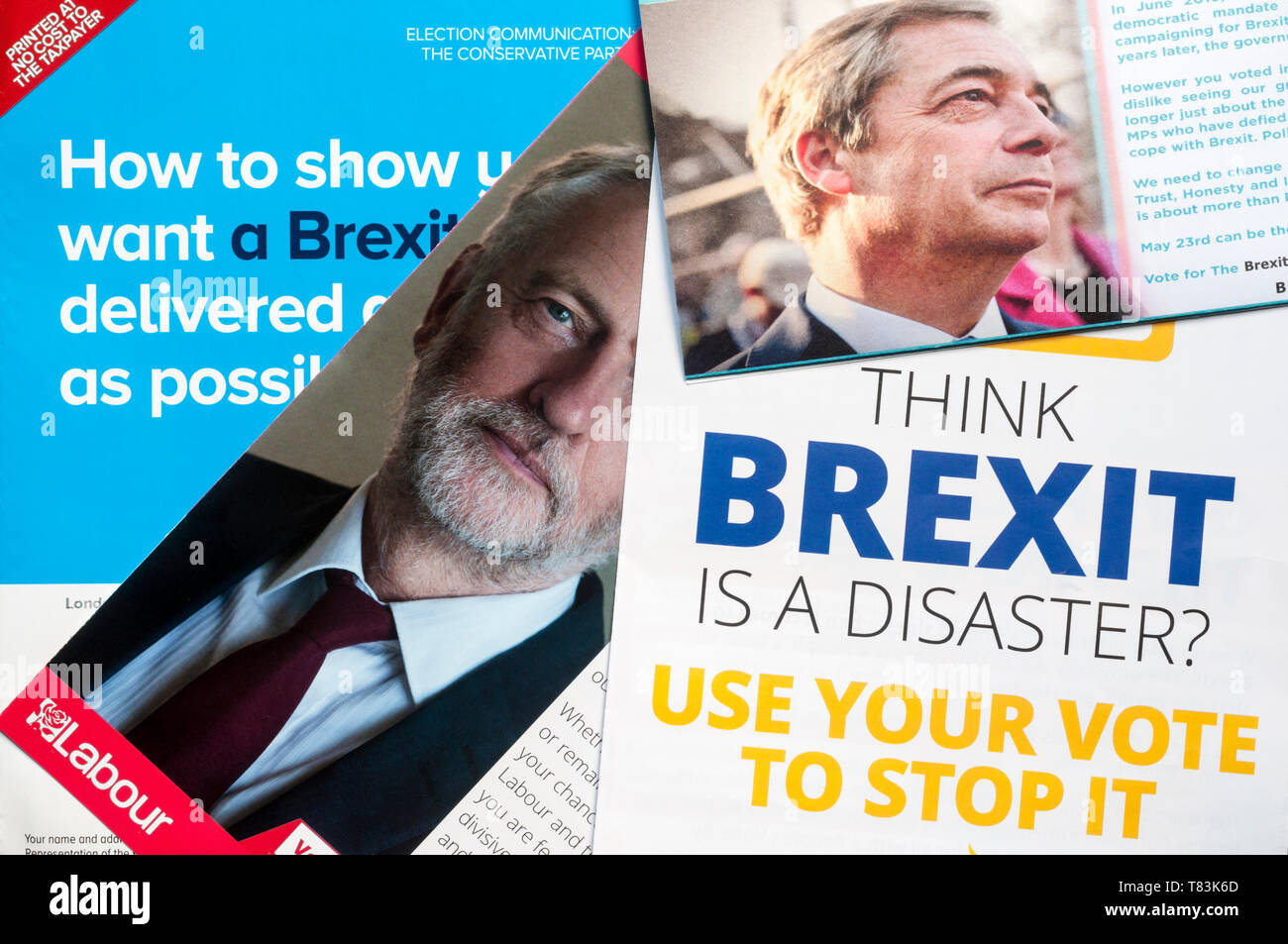 A selection of European Elections 2019 leaflets from the Labour, Liberal Democrat, Conservative and Brexit parties. - Stock Image