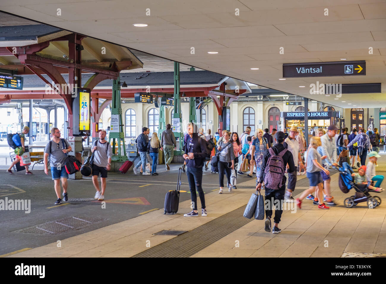 Railway with people who are on the way - Stock Image