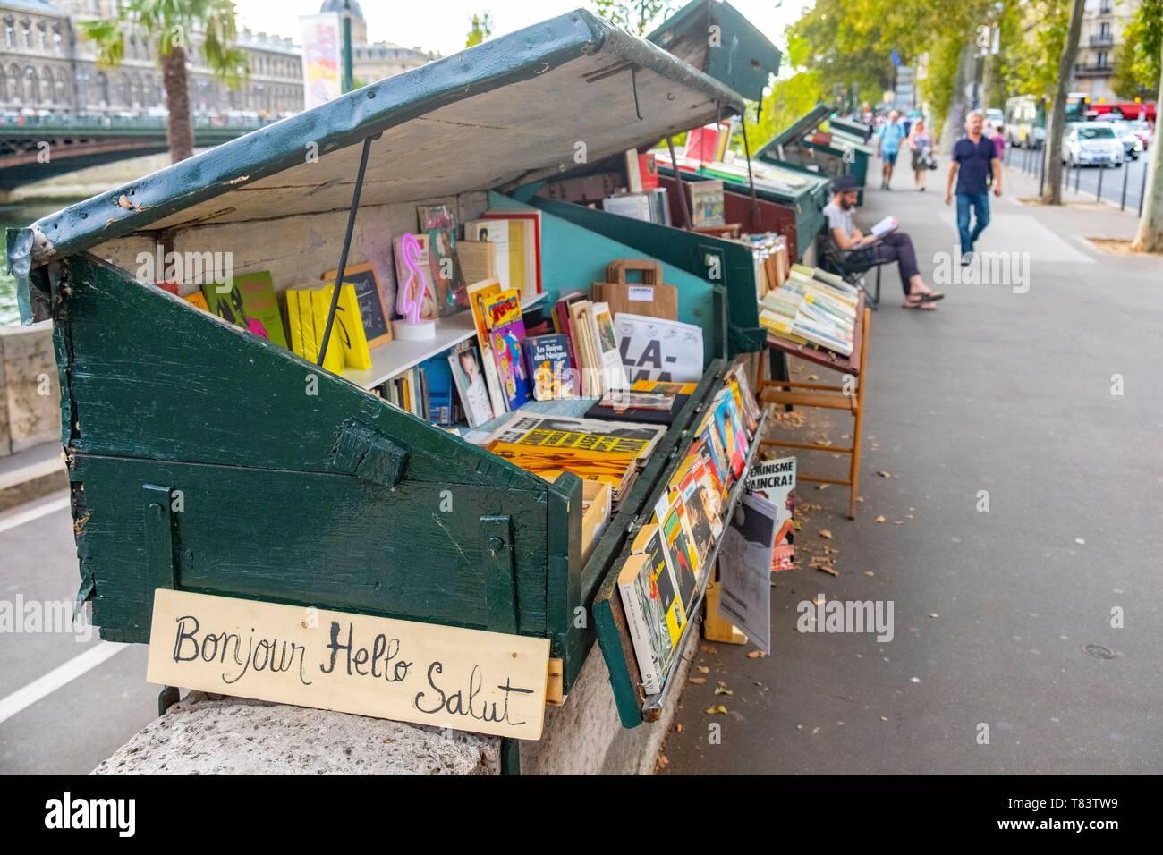 France, Paris, Quai de Gesvres, the Bouquinistes - Stock Image