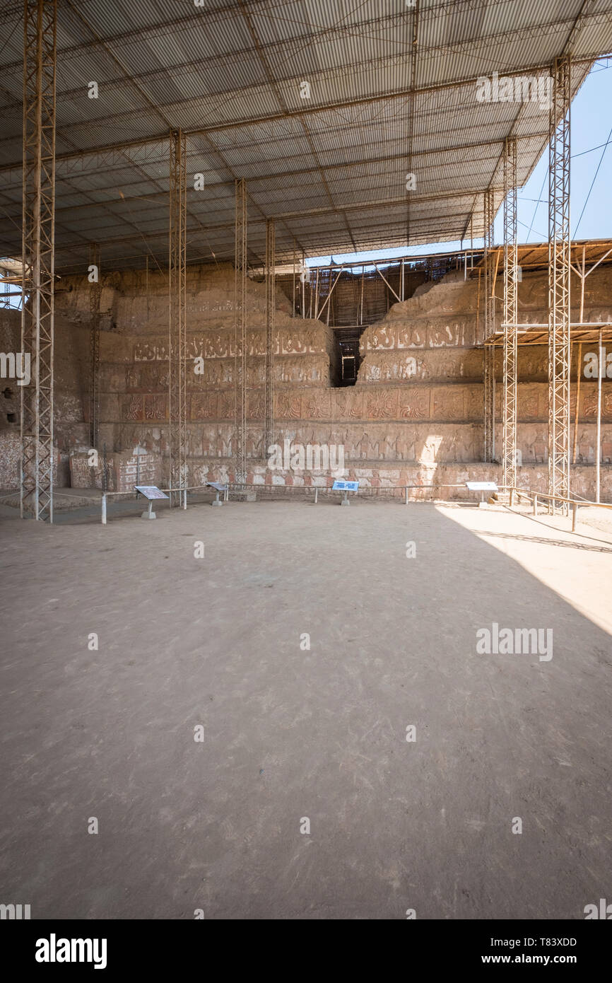 Superposition of the Old Temple facades in the Huaca of the Moon at The Ancient City of Moche near modern Trujillo in Peru - Stock Image