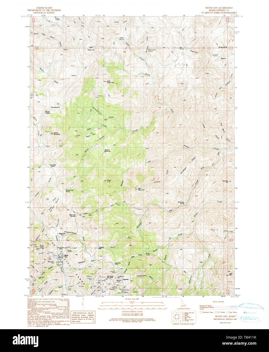 silver city idaho map Usgs Topo Map Idaho Id Silver City 238151 1990 24000 Restoration silver city idaho map
