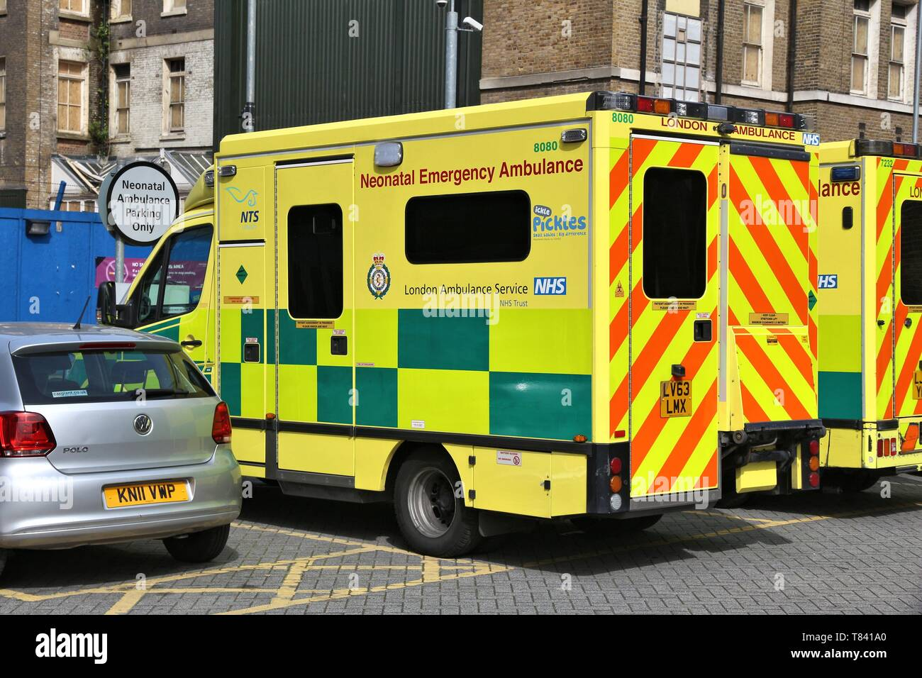 LONDON, UK - JULY 6, 2016: London Ambulance Service operated Neonatal Emergency Ambulance. It is part of National Health Service (NHS) in the UK. - Stock Image