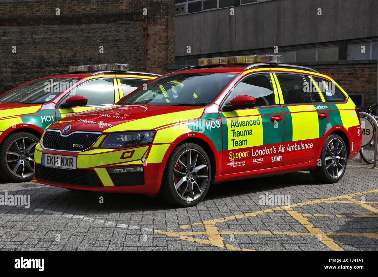 LONDON, UK - JULY 6, 2016: Advanced Trauma Team vehicle supporting London's Air Ambulance. It is part of National Health Service (NHS) in the UK. Stock Photo