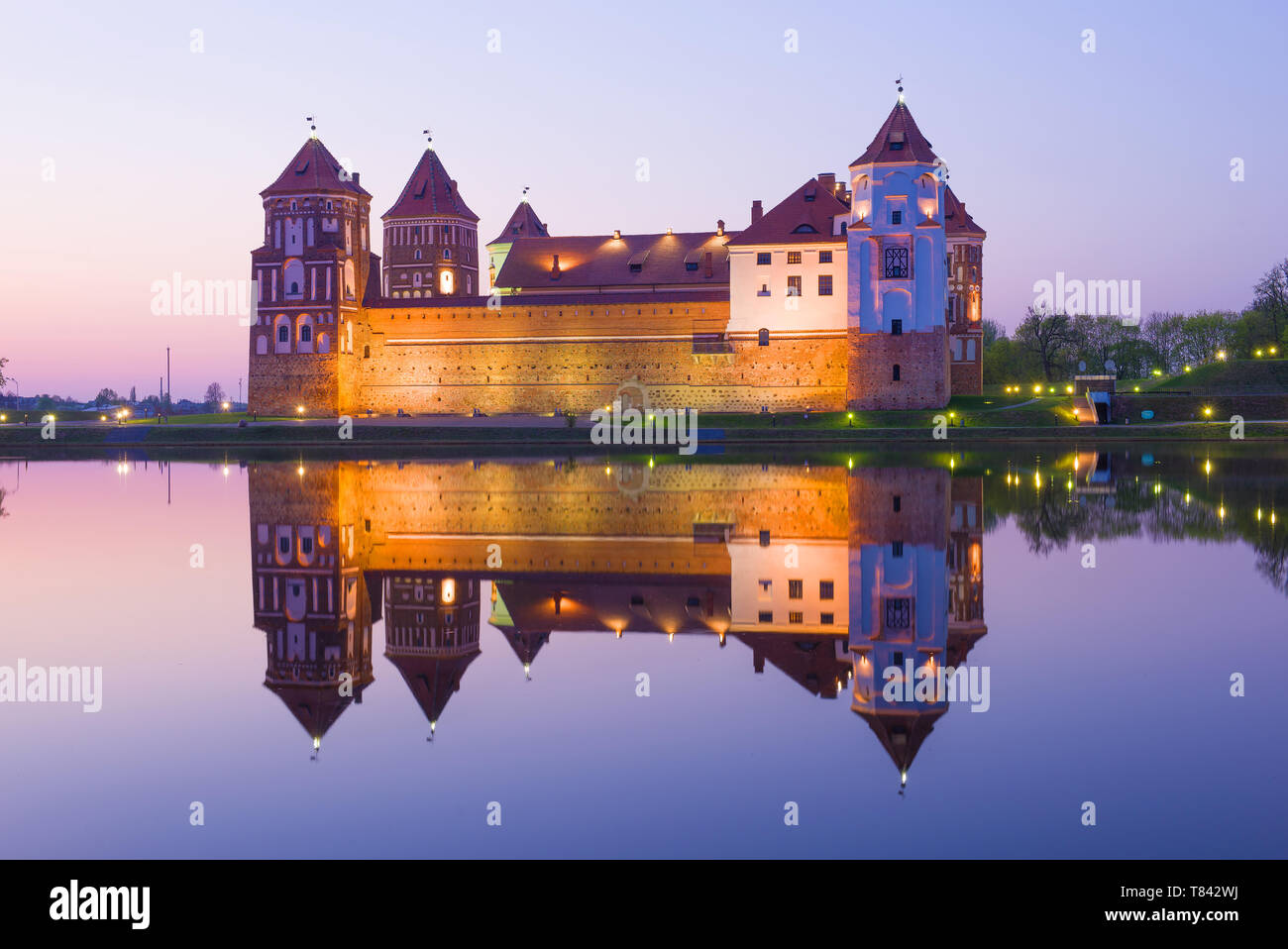 Mir Castle in the April twilight. Belarus - Stock Image