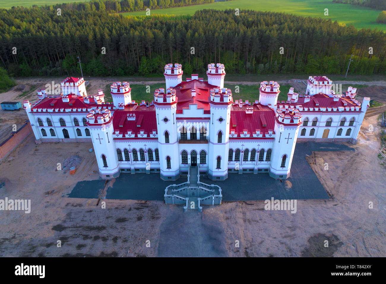 Restored ancient castle-palace of Puslovsky close up on an April afternoon. Kossovo, Belarus - Stock Image