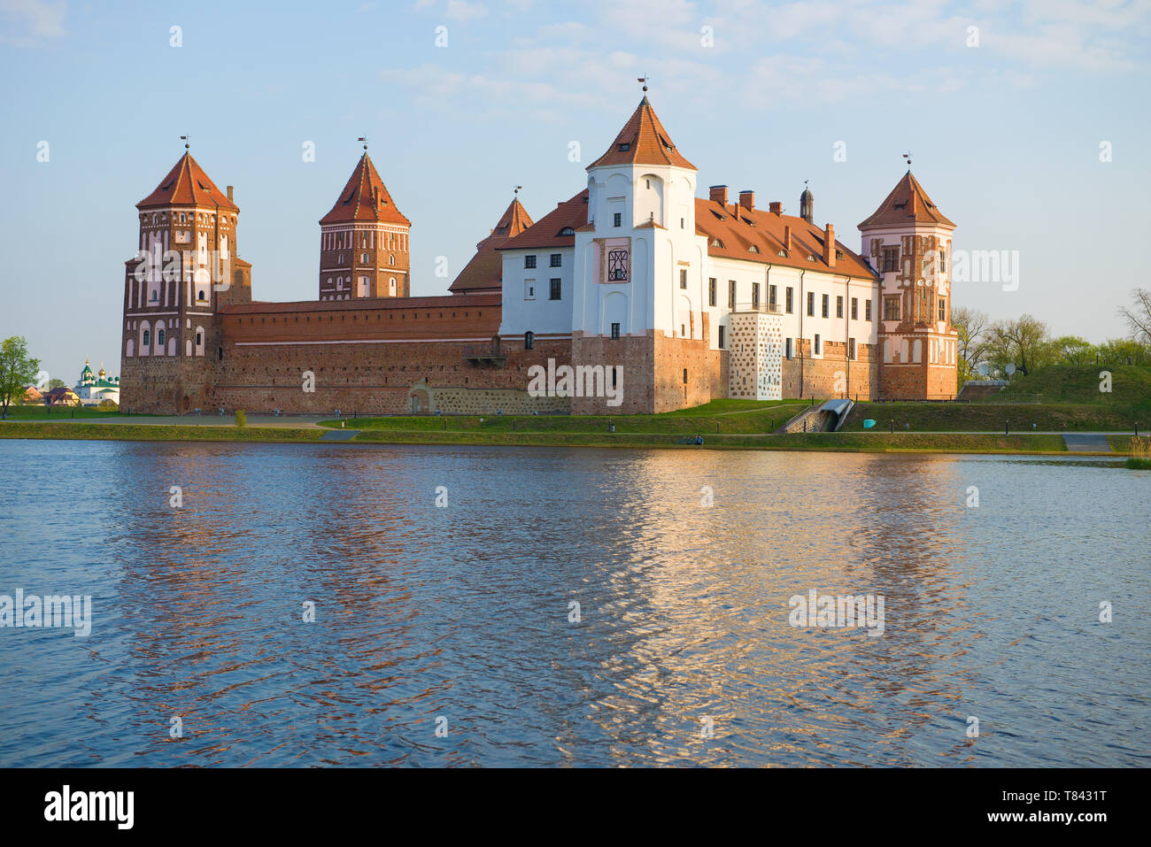 View of the Mir Castle in April morning. Belarus - Stock Image