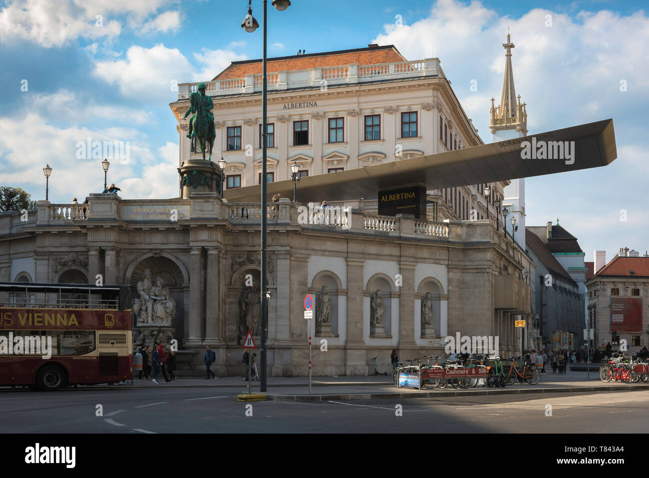 Albertina Vienna, view of the Albertina building - former Habsburg imperial apartments that now house an extensive modern art collection, Austria. Stock Photo