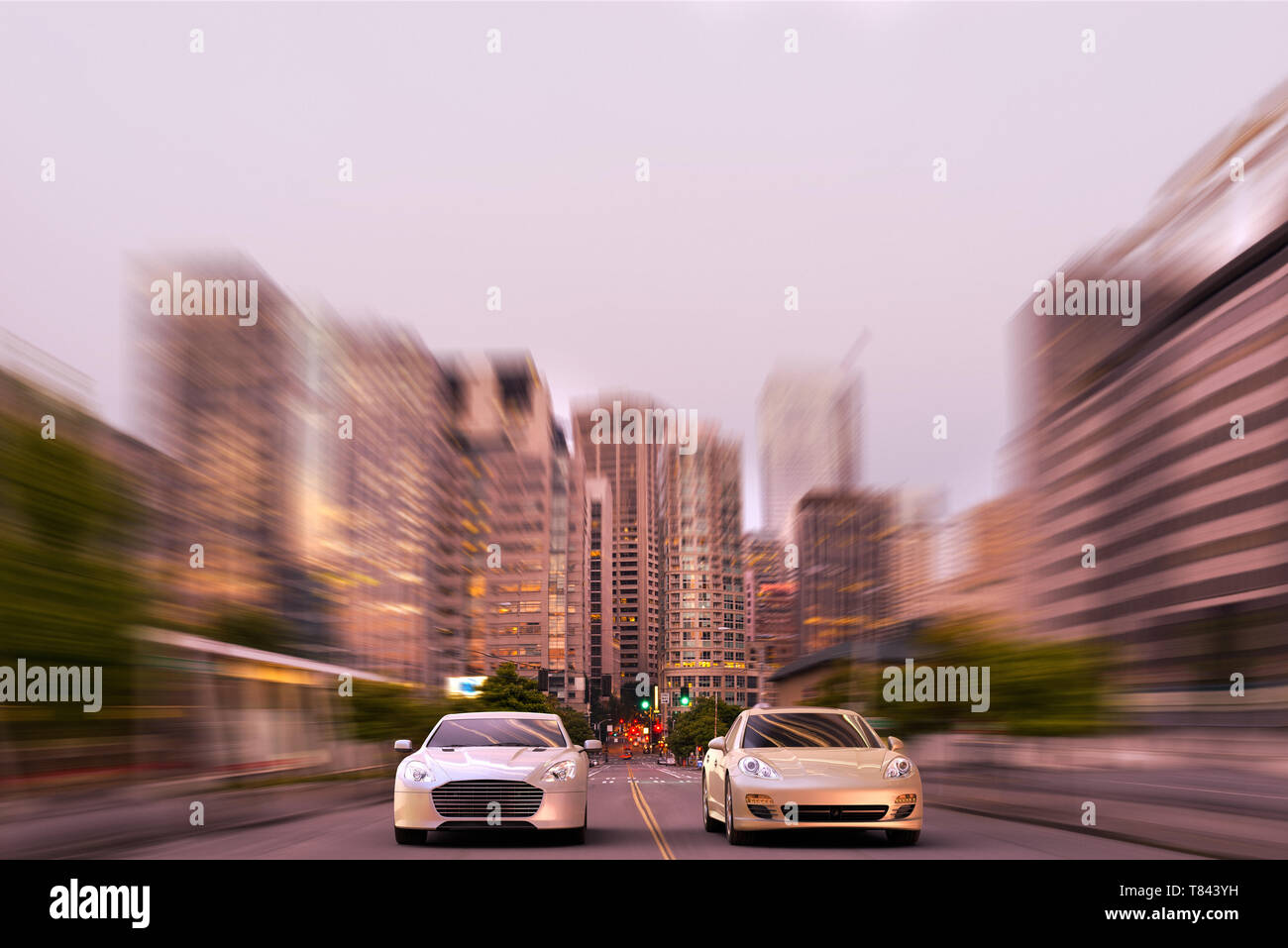 3D rendering of two luxury sports car racing in the middle of downtown Seattle, USA - Stock Image