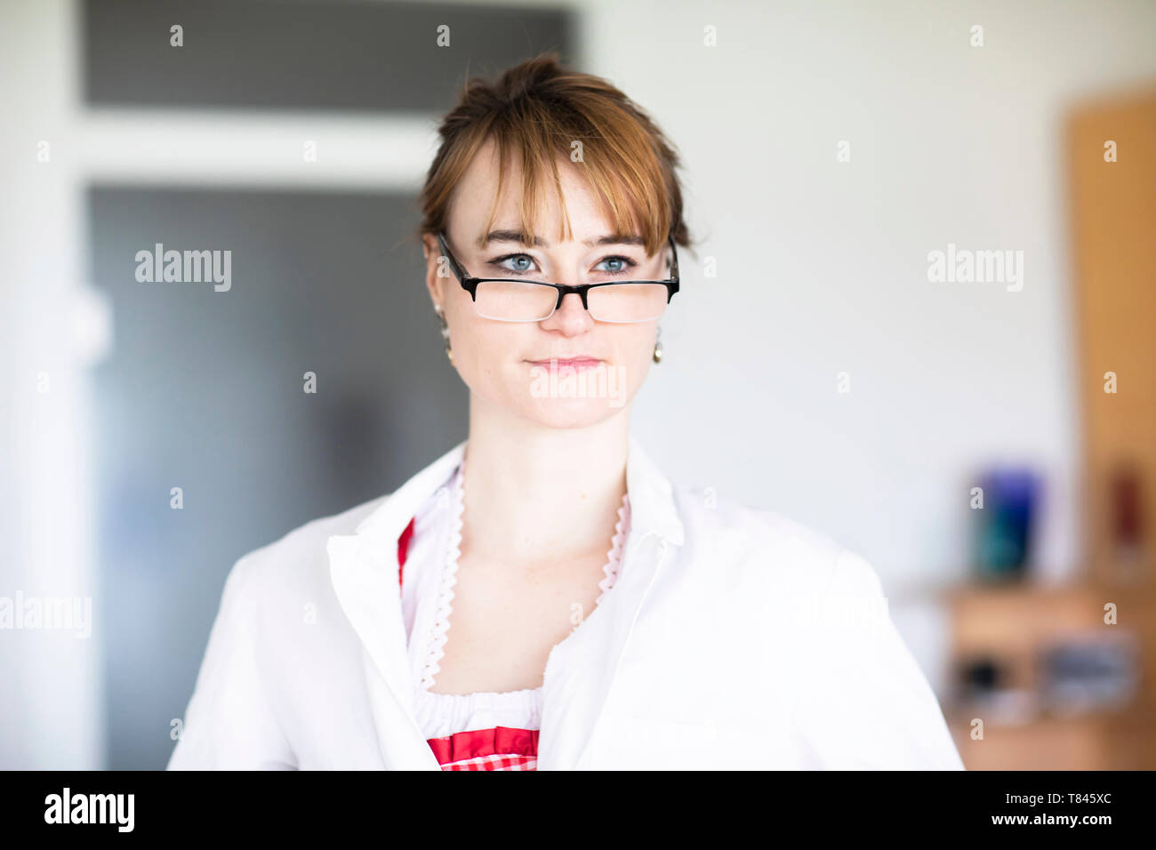 Portrait of woman wearing eye glasses Stock Photo