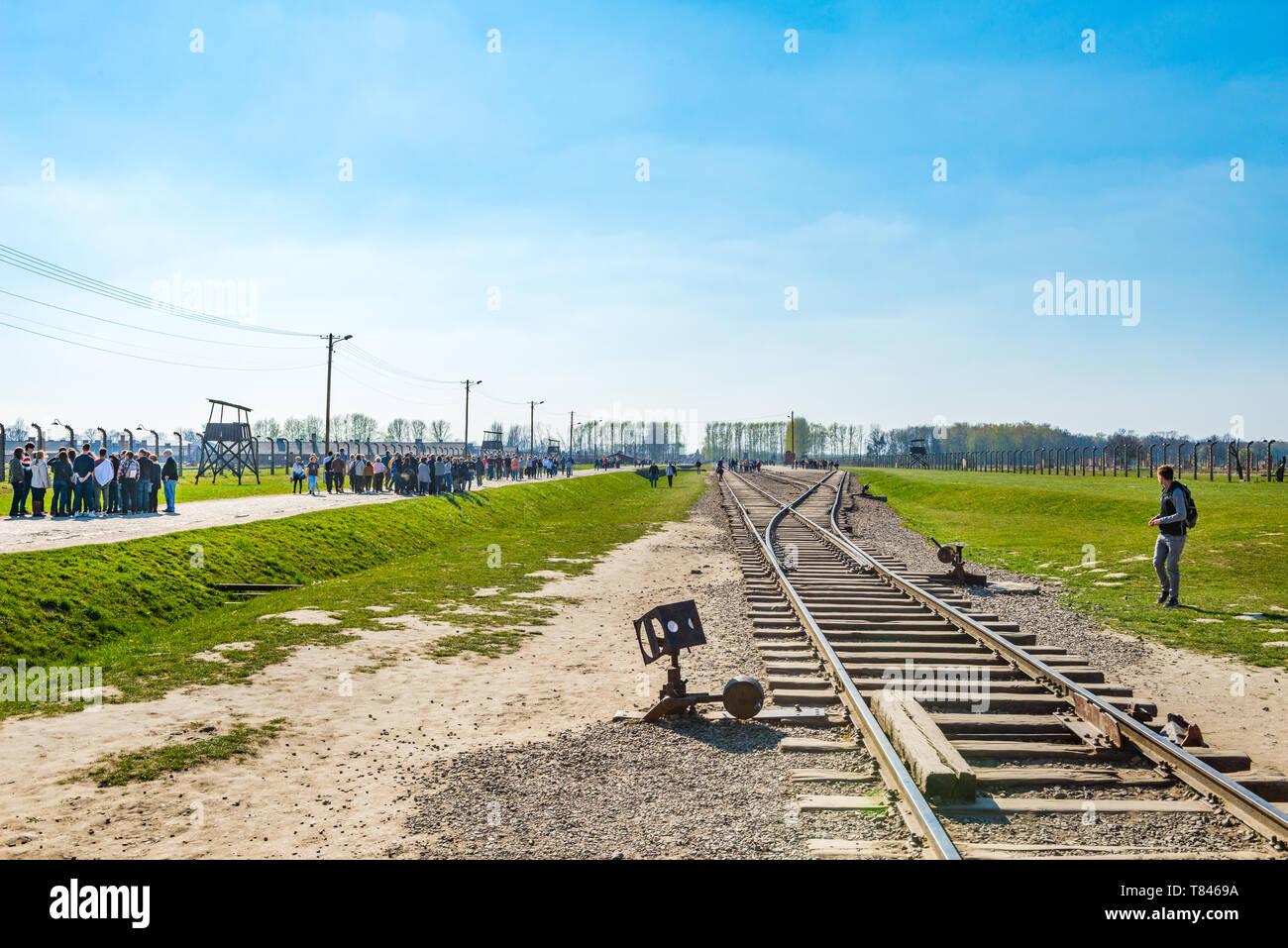 AUSCHWITZ (OSWIECIM), POLAND - APRIL 18, 2019: Railway platform in Auschwitz Birkenau extermination death camp, Poland. This platform was used as sele - Stock Image