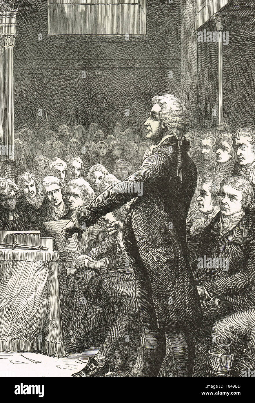 Edmund Burke speech in support of William Wilberforce motion for the abolition of slavery, 1789 - Stock Image