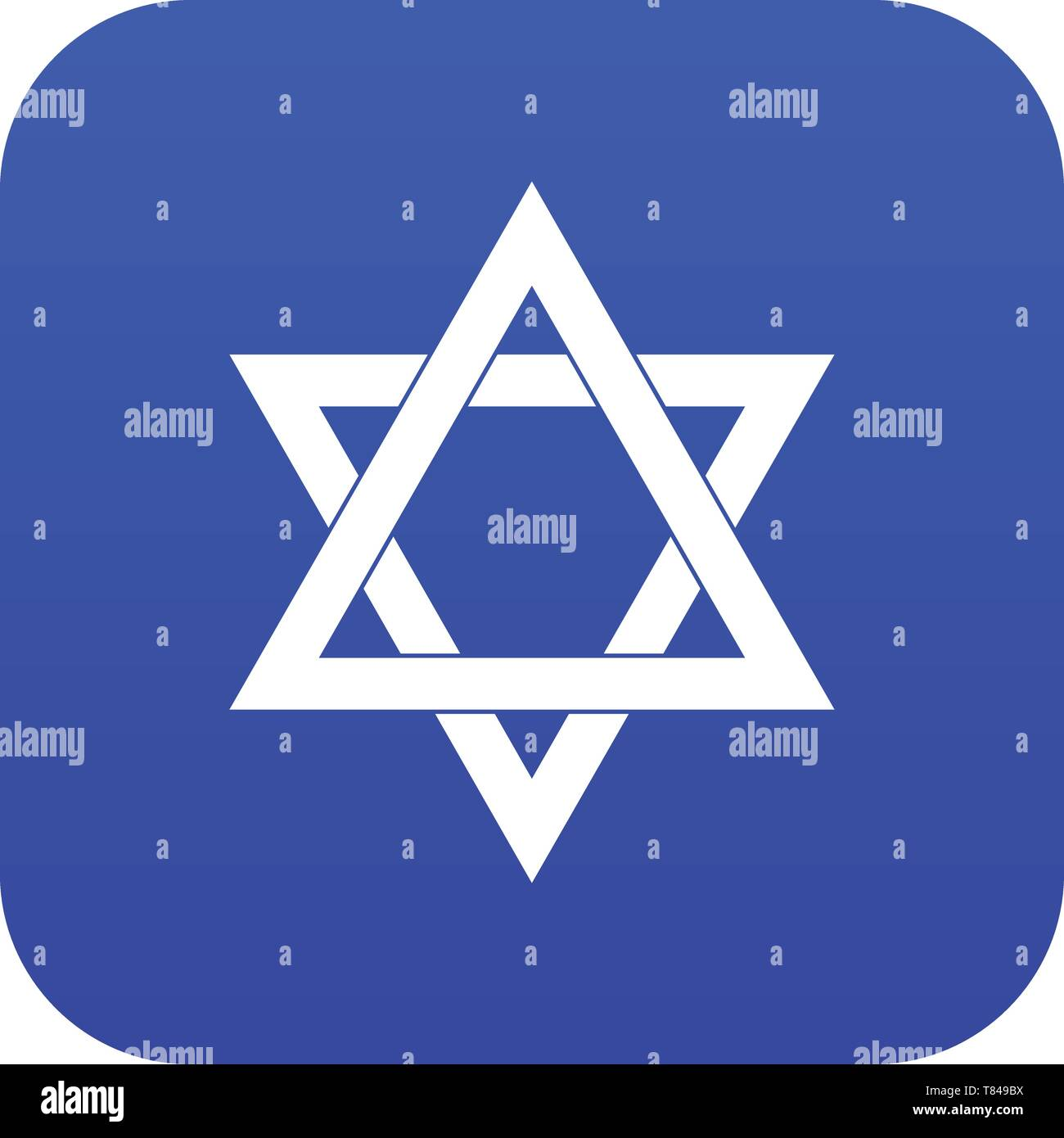 Star of David icon digital blue - Stock Vector
