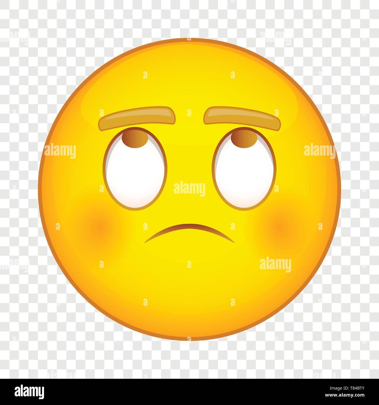 Thinking emoticon smiley icon, cartoon style - Stock Vector
