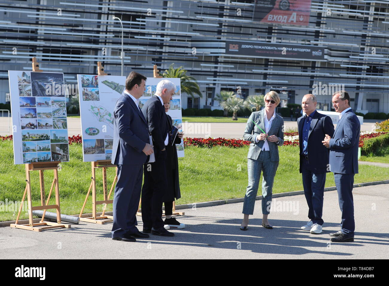Sochi, Russia. 10th May, 2019. SOCHI, RUSSIA - MAY 10, 2019: Sirius Education Centre director Yelena Shmeleva (3rd R), Russia's President Vladimir Putin (2nd R), and Krasnodar Territory Governor Veniamin Kondratyev (R) visit the Sirius Education Centre. Mikhail Klimentyev/Russian Presidential Press and Information Office/TASS Credit: ITAR-TASS News Agency/Alamy Live News - Stock Image